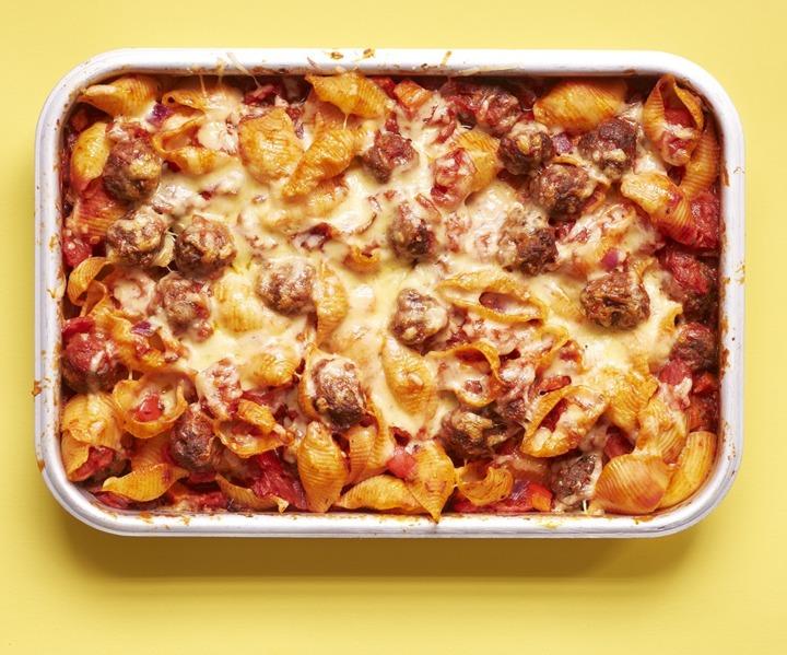 Tomato and Meatball Pasta Bake